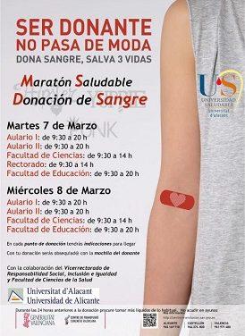 La Universidad de Alicante celebra la Maratón de Donación de Sangre de primavera