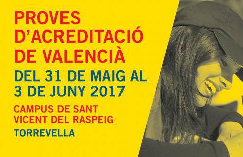 Novedades en las pruebas de acreditación de valenciano en la UA 2016-17